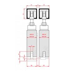 Раздвижная система телескопического открывания комплект для двустворчатой двери, стопор-довод.
